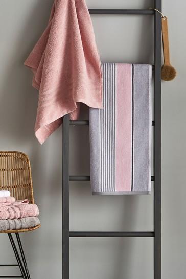 Set of 2 Catherine Lansfield Pink Textured Stripe Bath Towels