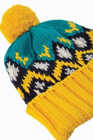 Frugi GOTS Blue Organic Cotton FairIsle Pattern Bobble Hat