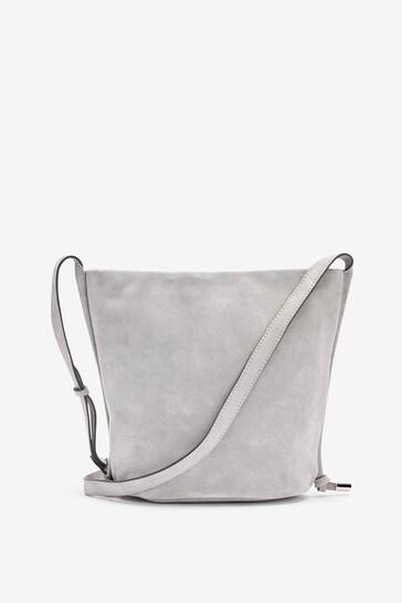 Grey Suede Timeless Bucket Across-Body Bag