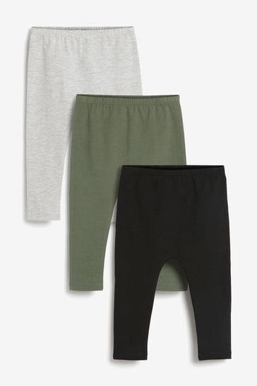 Khaki Plain 3 Pack Sueded Leggings (3mths-7yrs)