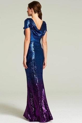 HotSquash Purple Cowl Back Sequined Fishtail Maxi Dress