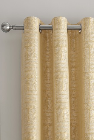 Curtina Ochre Lowe Textured Panels Lined Eyelet Curtains