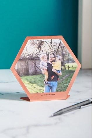 Personalised Copper Hexagonal Photo Print by Oakdene Designs