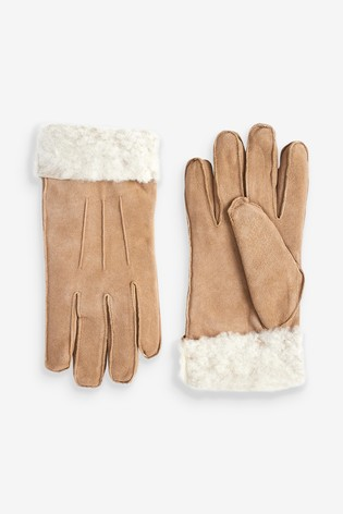 Tan Suede Sheepskin Gloves