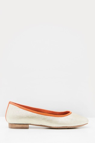 White Stuff Metallic Square Toe Ballerina