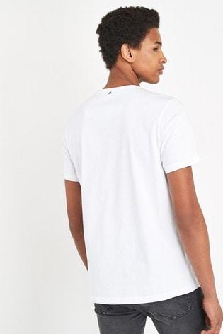 Pretty Green White Thornley Paisley Logo T-Shirt