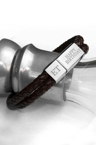 Personalised Men's Dual Brown Leather Bracelet by Treat Republic