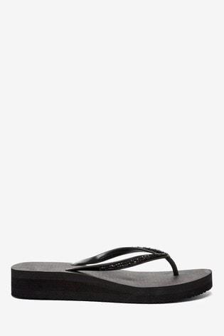Accessorize Black Embellished Wedge Eva Flip Flops