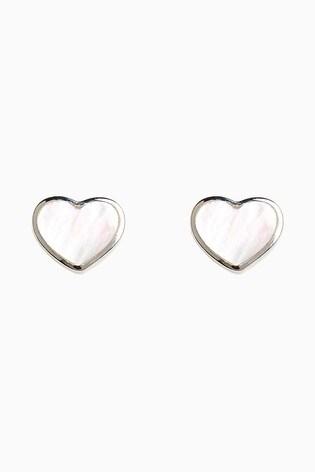 Sterling Silver Mother Of Pearl Heart Stud Earrings