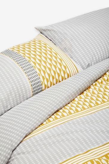 2 Pack Ochre Reversible Mini Geo Stripe Duvet Cover And Pillowcase Set