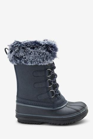 Navy Faux Fur Snow Boots (Older)