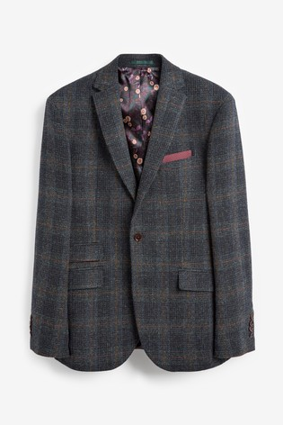 Blue Tailored Fit Signature Harris Tweed Blazer