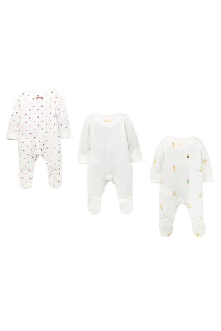 Joules White The Babygrow Three Pack