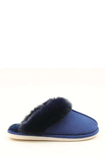 Heavenly Feet Blue Ladies Comfort Slippers