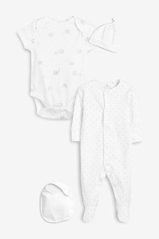 White Delicate Multi Print Four Piece Sleepsuit Set (0-6mths)