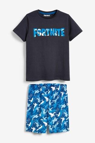 Blue Fortnite Short Pyjamas (10-16yrs)