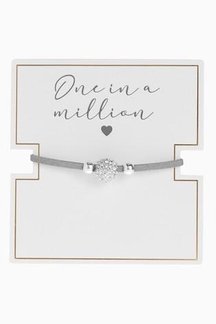 Silver Tone 'One in a Million' Pavé Pully Bracelet