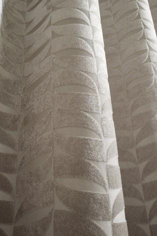 Curtina Natural Kendal Velvet Geo Lined Eyelet Curtains