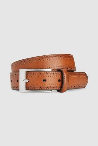 Tan Brogue Detail Belt