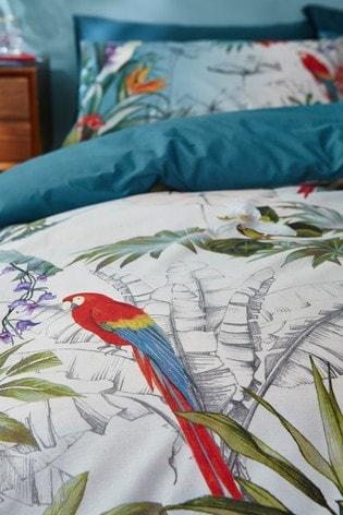 Accessorize Paradise Tropical Floral Cotton Duvet Cover And Pillowcase Set
