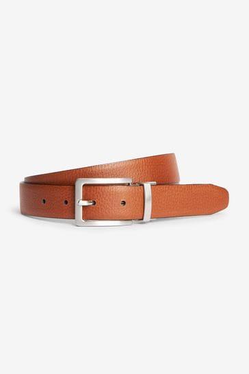 Black/Tan Signature Italian Leather Grain Effect Belt