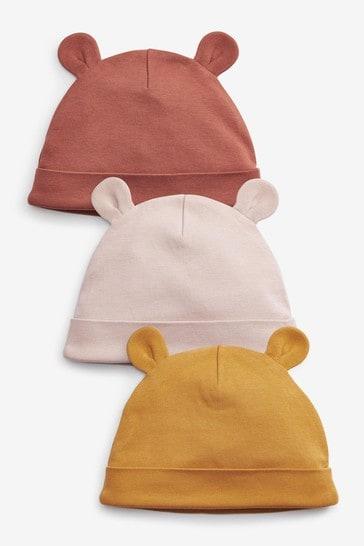 Ochre 3 Pack Beanie Hats (Newborn)