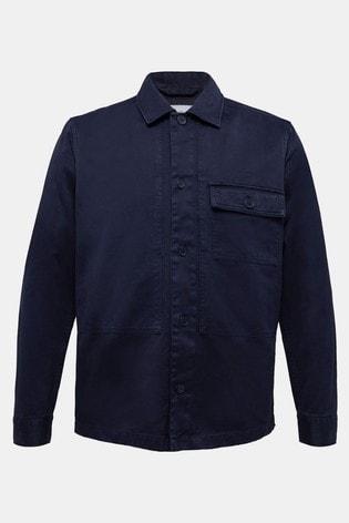 Esprit Mens Blue Long Sleeved Hemp Woven Shirt