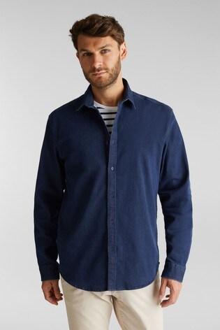 Esprit Mens Blue Long Sleeved Denim Woven Shirt