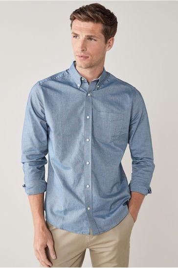Blue Regular Fit Long Sleeve Oxford Shirt