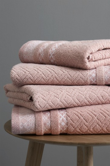Set of 2 Catherine Lansfield Blush Malawa Geo Bands Bath Towels