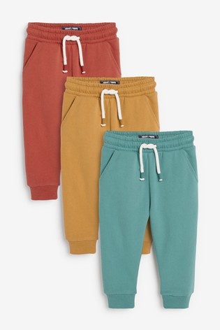 Ochre/Rust/Mineral 3 Pack Soft Touch Joggers (3mths-7yrs)