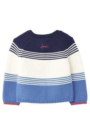 Joules Blue Haywood Short Sleeve V-Neck Button Through Cardigan
