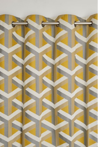 Optical Geo Jacquard Eyelet Curtains Fabric Sample