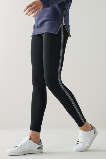 Lurex Side Stripe Full Length Leggings