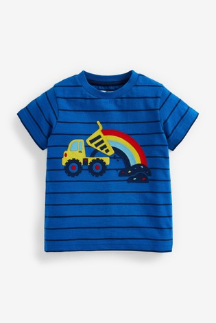 Blue Rainbow Digger Appliqué T-Shirt (3mths-7yrs)