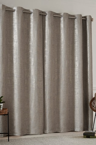 Natural Metallic Woven Geo Eyelet Lined Curtains