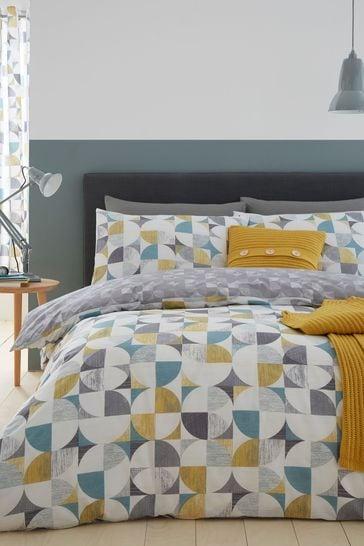 Catherine Lansfield Grey Retro Circles Geo Duvet Cover and Pillowcase Set