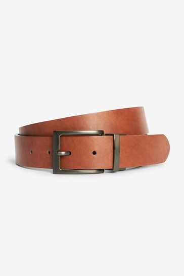 Tan/Black PU Reversible Belt