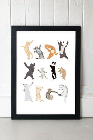 Dancing Cats by Hanna Melin Framed Print