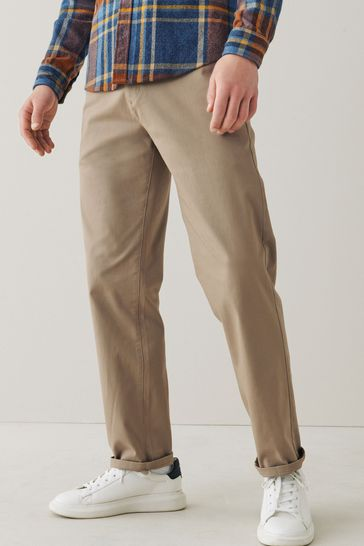Stone Relaxed Fit Stretch Chino Trousers