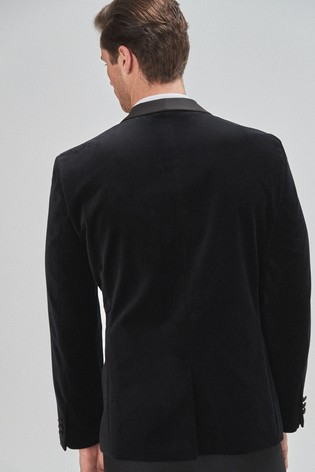 Black Regular Fit Velvet Shawl Collar Tuxedo Jacket