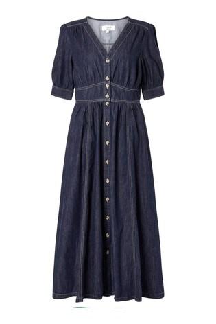 Monsoon Blue Dolly Denim Dress In Organic Cotton