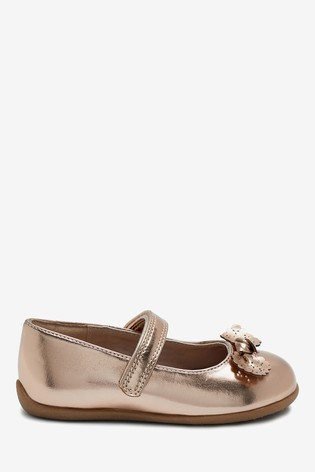 Rose Gold Pink Standard Fit (F) Bow Mary Jane Shoes