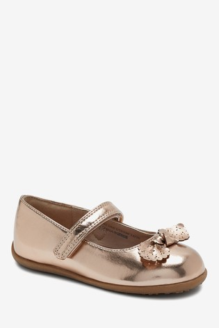 Rose Gold Standard Fit (F) Bow Mary Jane Shoes