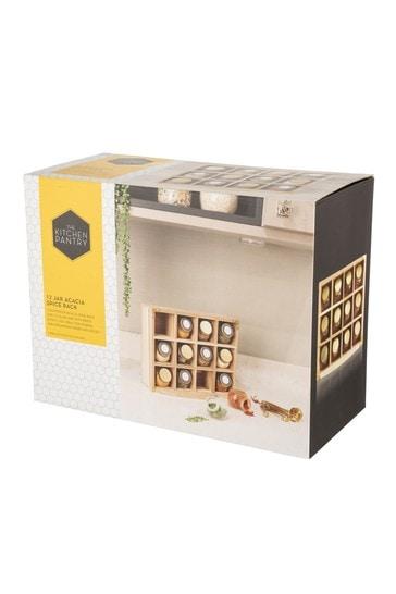 Set of 12 Kitchen Pantry Unfilled Spice Jars & Storage Rack