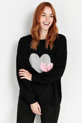 Wallis Petite Black Double Heart Print Jumper