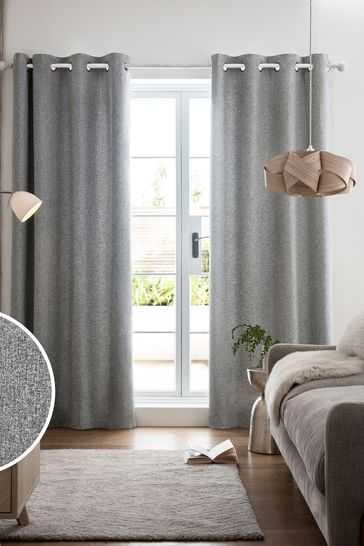Grey Soft Marl Eyelet Lined Curtains