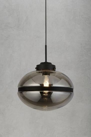 Searchlight Grey Taylor 1 Light Smoked Pendant