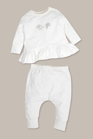 M&Co Cream Newborn Top And Leggings Set