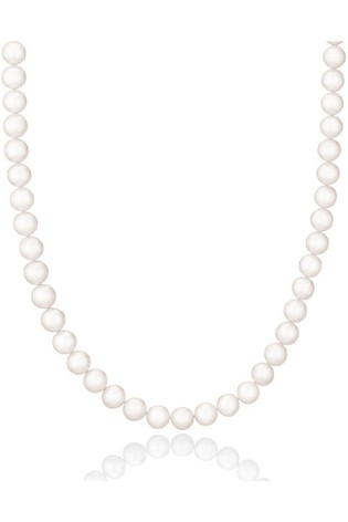 Beaverbrooks Silver Fresh Water Cultured Pearl Single Row Necklace